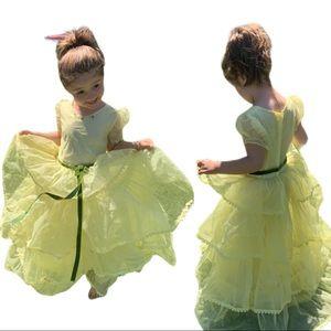 Vintage Handmade Yellow Chiffon Layered dress